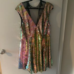 NWT stunning Free People sequin dress with mesh